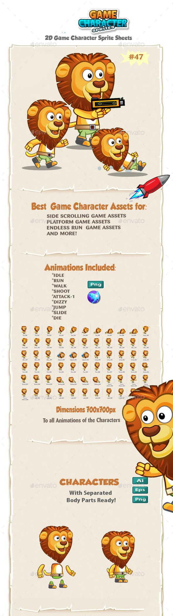 Lion 2D Game Character Sprites 47 - Sprites Game Assets