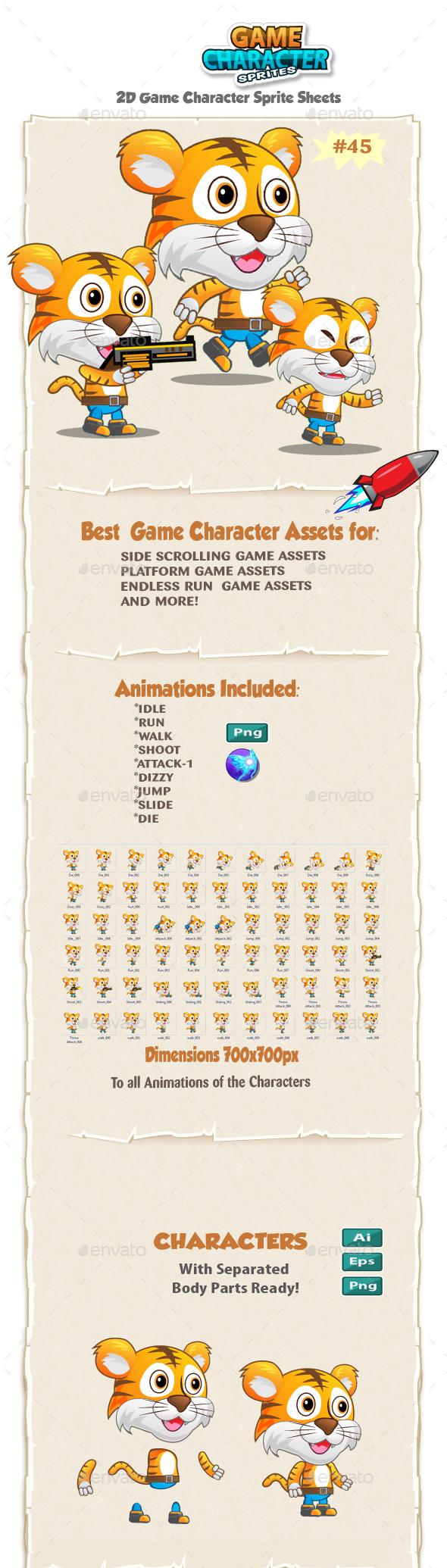 Tiger 2D Game Character Sprites 45 - Sprites Game Assets