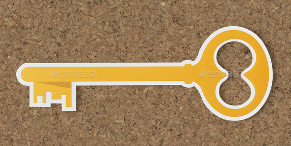 Golden key security access icon - Stock Photo - Images