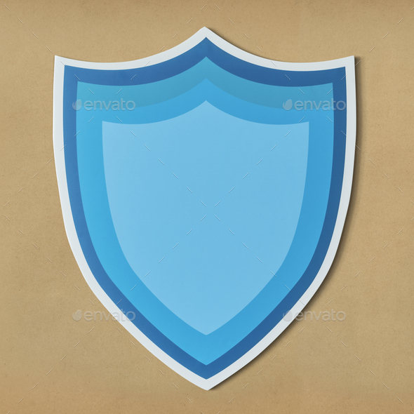 Blue protection shield icon isolated - Stock Photo - Images