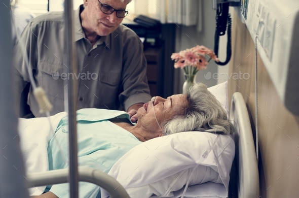 An elderly patient at the hospital - Stock Photo - Images