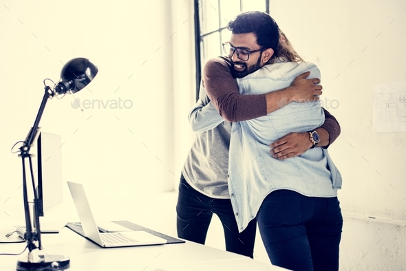 Friends hugging each others - Stock Photo - Images