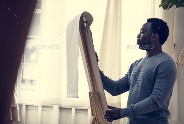 African man drawing - Stock Photo - Images