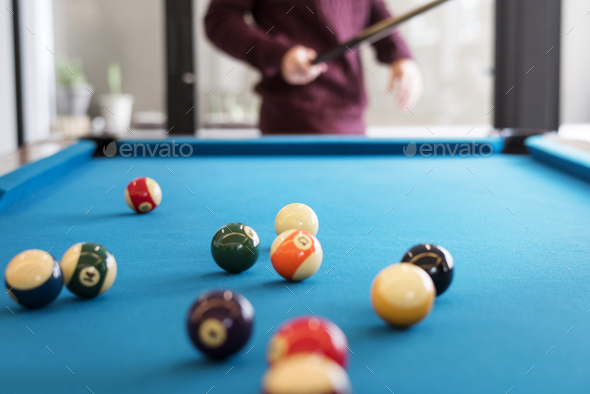 Billiard balls on a pool table - Stock Photo - Images