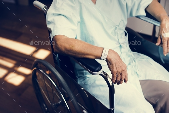 An old patient at a hospital - Stock Photo - Images