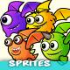 8 Flying Monster Enemies 2D Game Character Sprites
