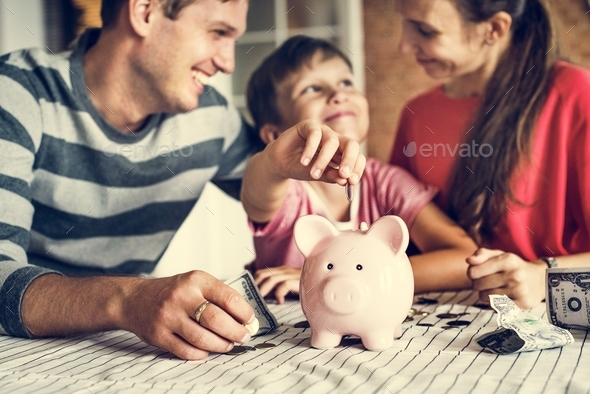 Kid earning money for future - Stock Photo - Images