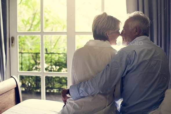An elderly couple spending time together - Stock Photo - Images