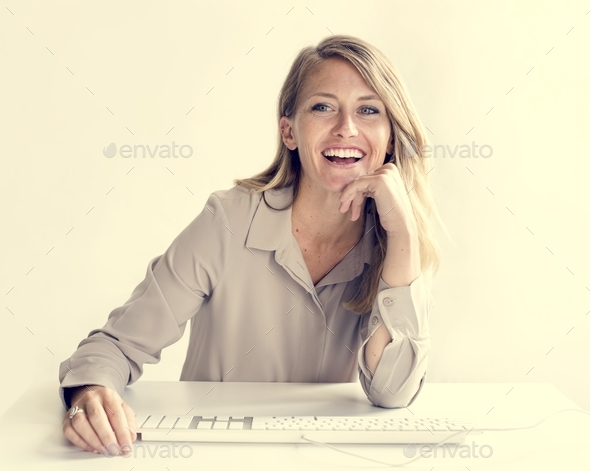 Cheerful businesswoman - Stock Photo - Images