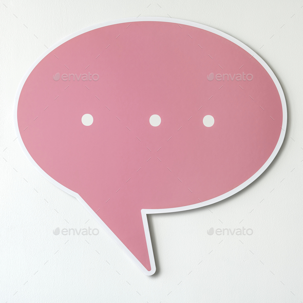 Speech bubble cut out icon - Stock Photo - Images