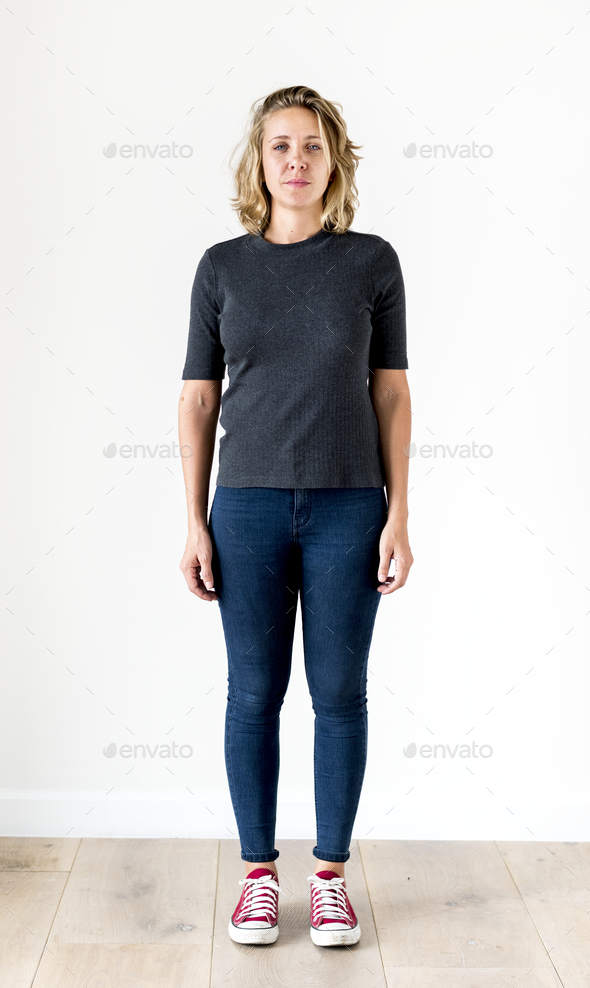 Portrait of white woman full body - Stock Photo - Images