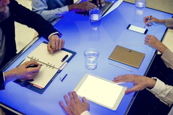People in atechnology meeting at cyber space table - Stock Photo - Images