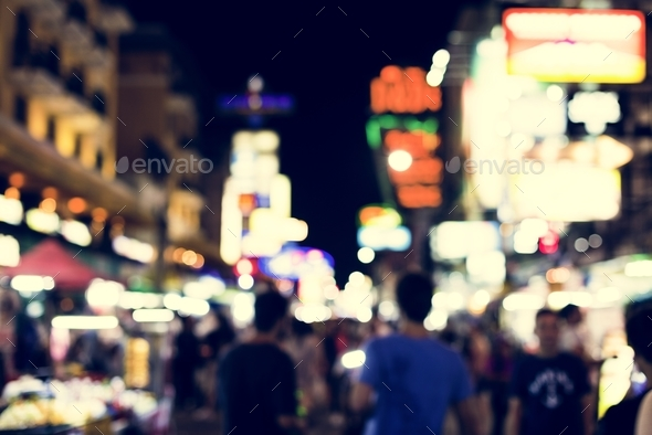 Blurred city lights at night time - Stock Photo - Images