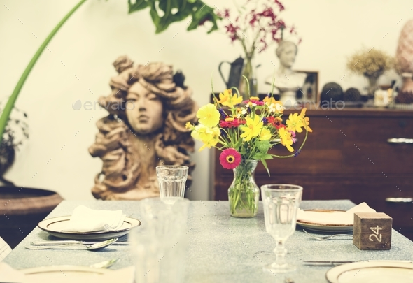 Table arranged for the customers - Stock Photo - Images