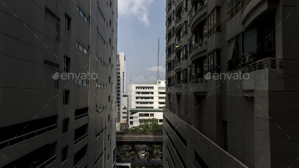 Buildings in downtown Bangkok city - Stock Photo - Images