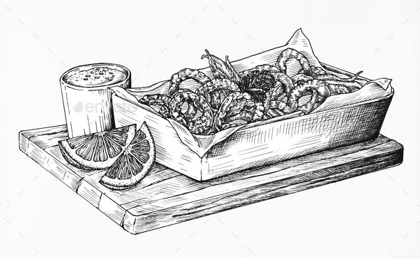 Hand drawn calamari fried squid - Stock Photo - Images