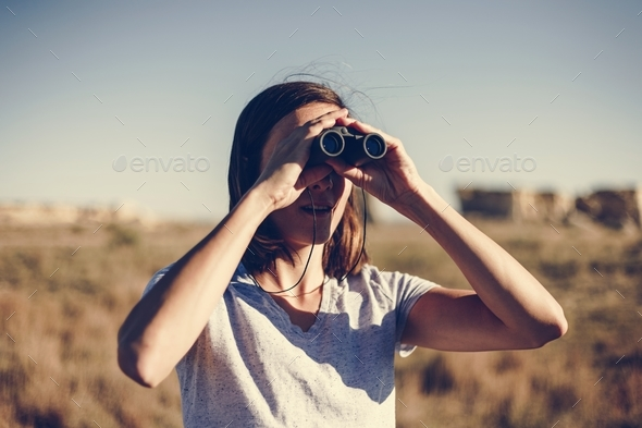 Traveler Using Binoculars - Stock Photo - Images