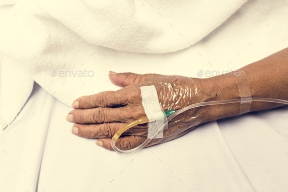 IV tube on patient hand - Stock Photo - Images