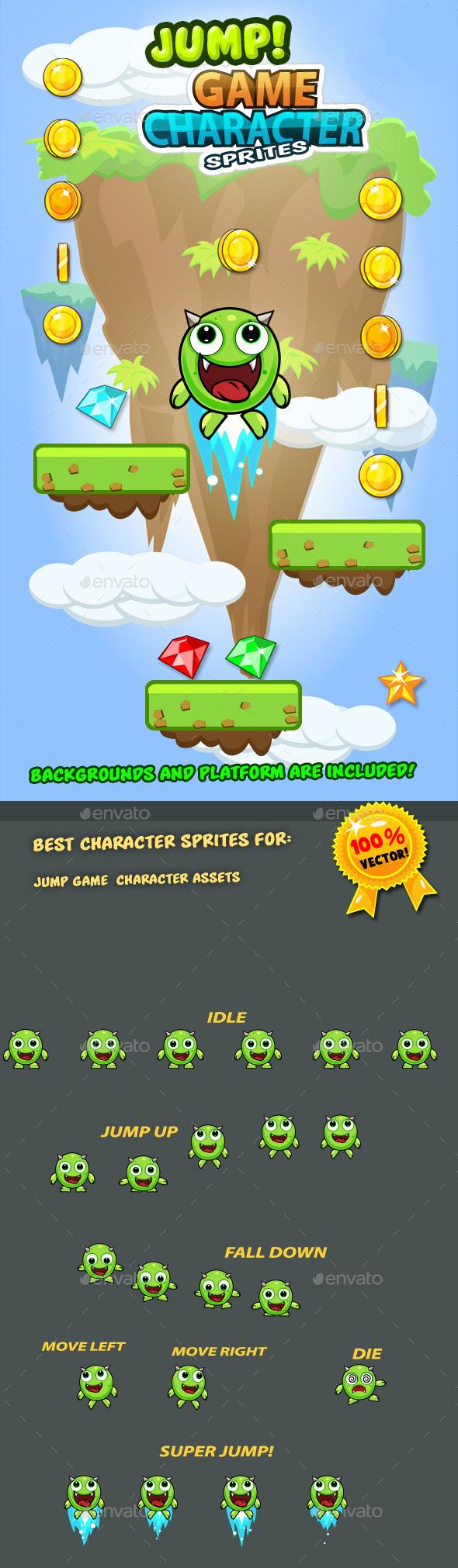Jump Monster Character Sprites 10 - Sprites Game Assets