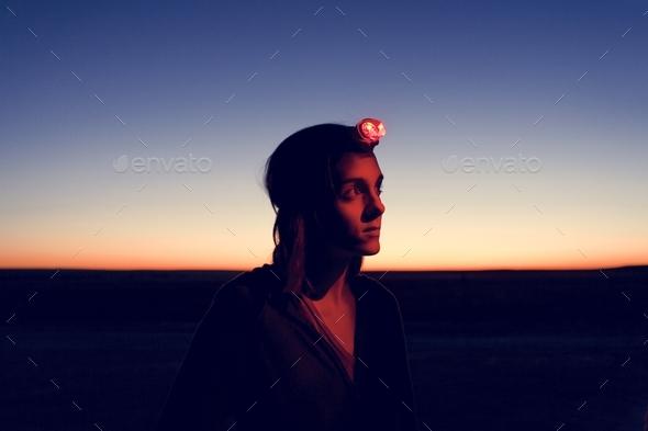 Traveler wearing headlamp - Stock Photo - Images