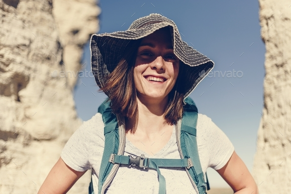 Woman traveling with backpack - Stock Photo - Images