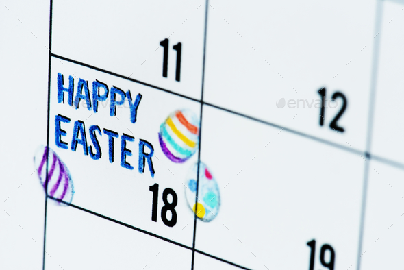 Easter holiday calendar reminder - Stock Photo - Images