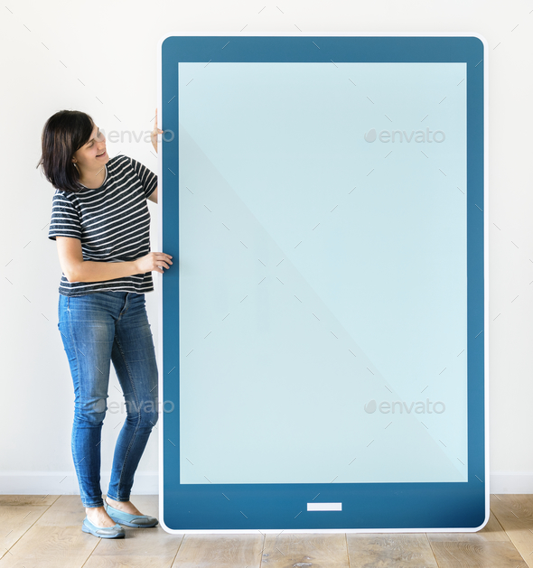 Woman holding a blue tablet mockup - Stock Photo - Images