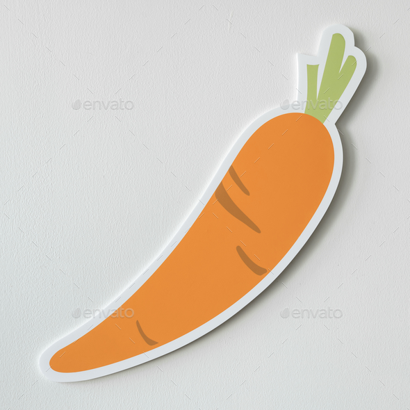 Healthy nutritious carrot cut out icon - Stock Photo - Images