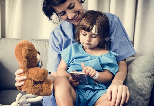 Young sick girl is staying at the hospital - Stock Photo - Images