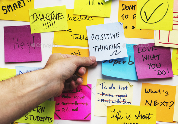 Positive thinking note on a wall - Stock Photo - Images
