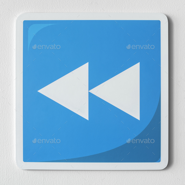 Blue rewind button music icon - Stock Photo - Images