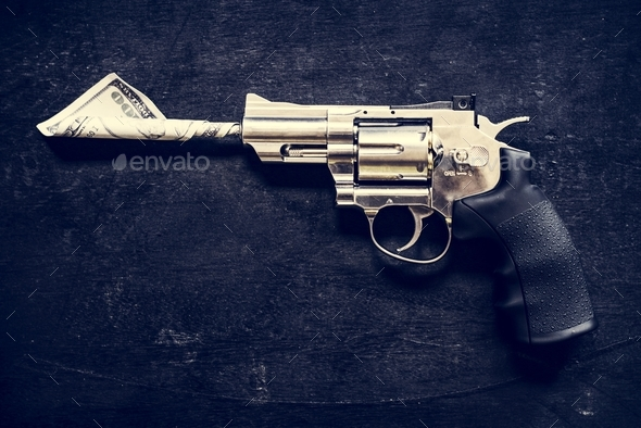 Gun on black background - Stock Photo - Images