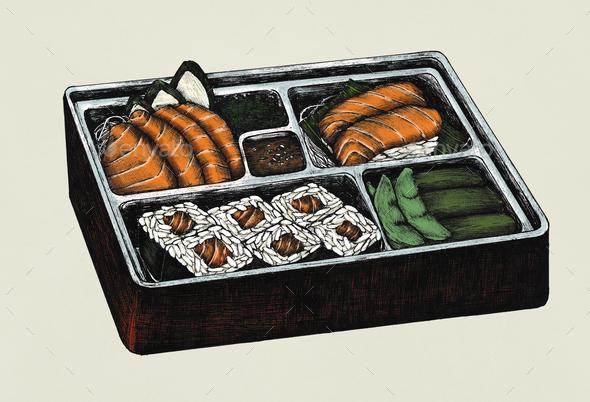 Hand drawn salmon sushi and sashimi bento - Stock Photo - Images