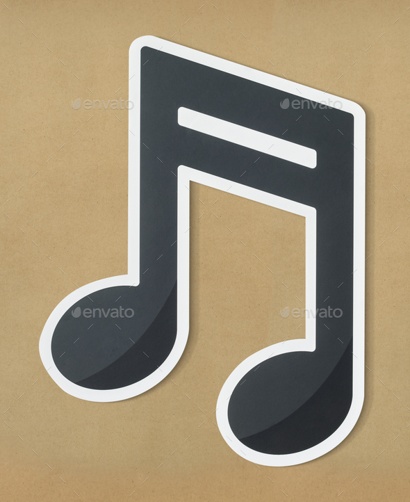 Musical note audio cut out icon - Stock Photo - Images