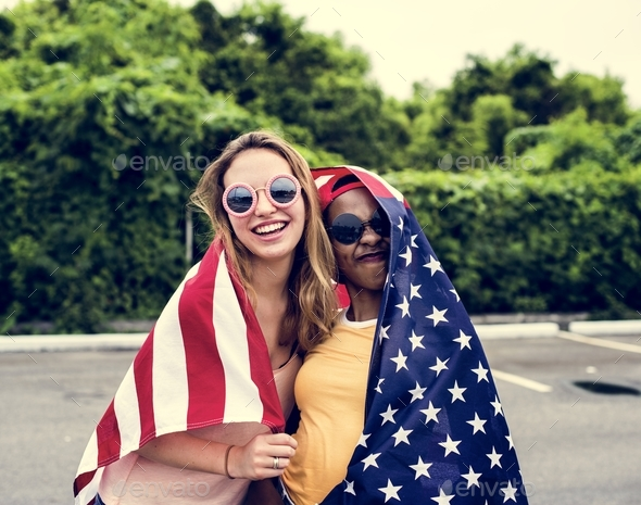 Women with American nation flag - Stock Photo - Images