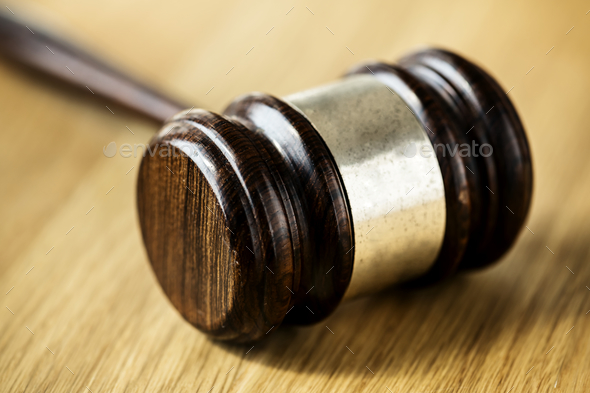 Closeup of gavel judgement concept - Stock Photo - Images