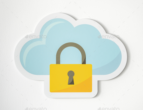 Cloud security icon technology symbol - Stock Photo - Images