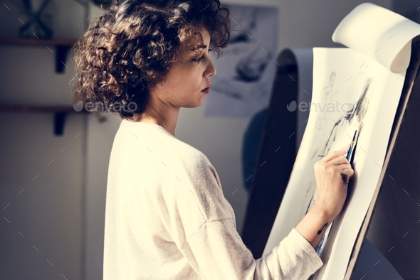 Woman drawing - Stock Photo - Images