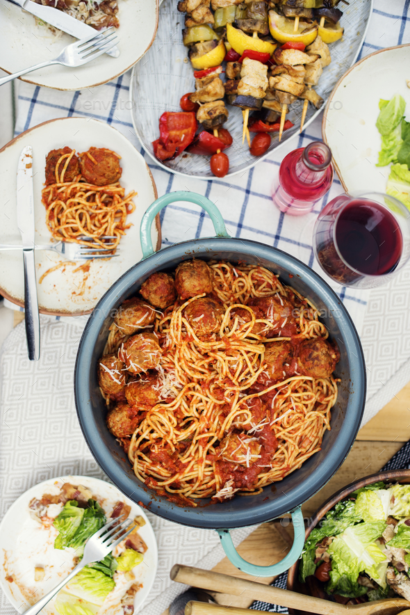 Aerial view of various food in the party - Stock Photo - Images