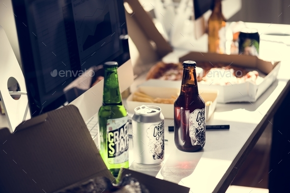 Food and drinks in office - Stock Photo - Images