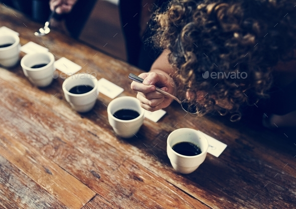 types of coffee placed to taste or smell - Stock Photo - Images