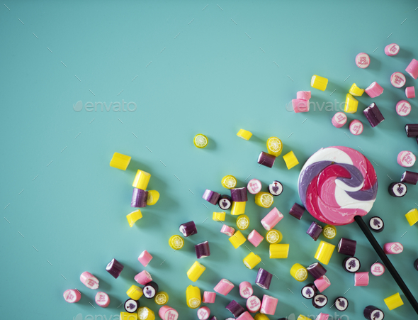 Flat lay of candy isolated - Stock Photo - Images
