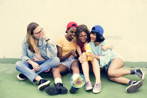 Group of diverse women having fun together - Stock Photo - Images