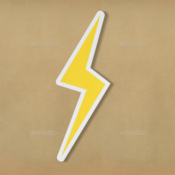 Yellow electric lightning bolt icon - Stock Photo - Images