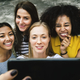 Young adult female friends taking a group selfie - PhotoDune Item for Sale