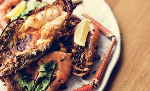 Grilled cooked shrimp dish tasty plate - Stock Photo - Images