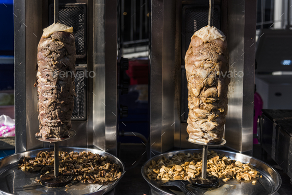 Doner kebab in a roasting spti - Stock Photo - Images