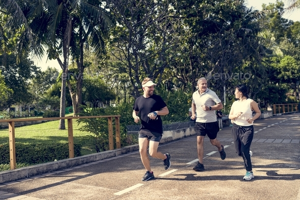 People jogging at park - Stock Photo - Images