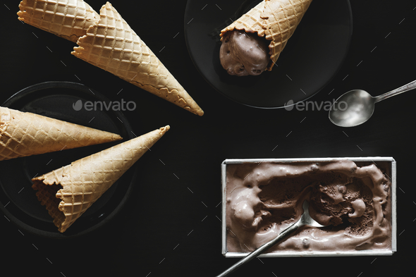 Dark chocolate ice cream and cones - Stock Photo - Images