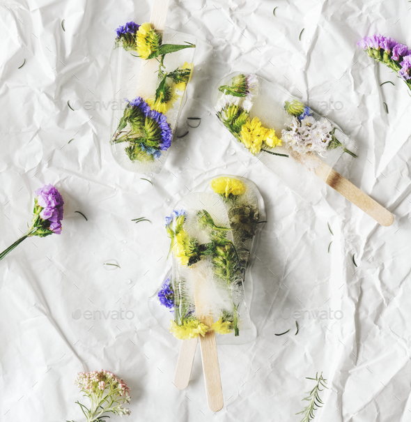 Homemade summer wildflower ice pop - Stock Photo - Images